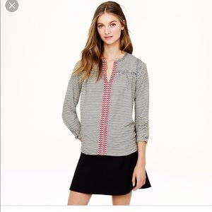 J. Crew embroidered cotton striped peasant top 4